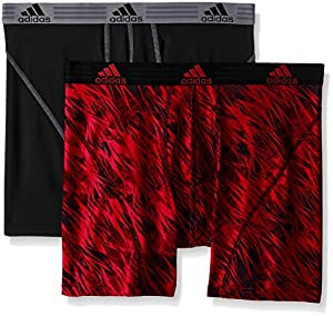 adidas Men's Sport Performance Climalite Boxer Brief Underwear (2 Pack), Real Red Draven/Black/Grey, Small/Waist Size 28-30