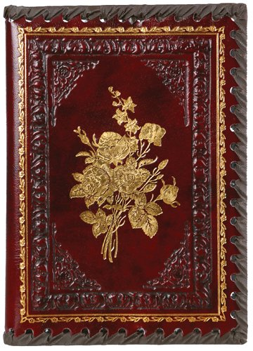 Gold Roses Refillable Leather Journal with Embossed Roses Design, Ivory Sheets, Lined, 6x8