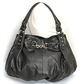 Large Black Leather Lk Slouchy Hobo Satchel Handbag