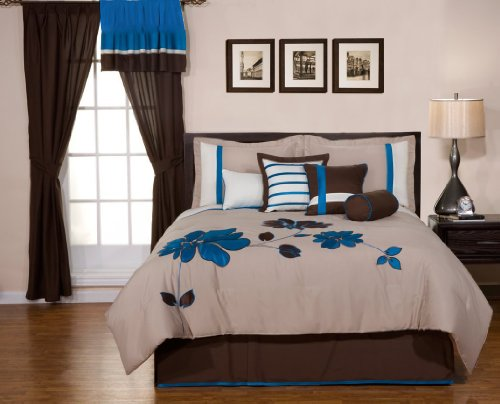 7Pcs Blue Beige Brown White Luxury Stripe Floral Selma Duvet Cover Set Queen Size Bedding front-989953