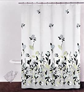 dkny watercolor fields fabric shower curtain gray black periwinkle on off white ivory. Black Bedroom Furniture Sets. Home Design Ideas