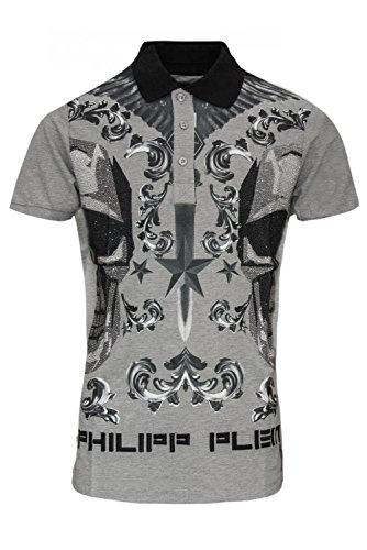 """Philipp Plein Grau """"Fluxe Grey"""" Shirt Polo Poloshirt Designer Bedruckt Für Herren und Männer Slim Fit Slim Fit Kragen mit Print und Applikationen (XXL) thumbnail"""