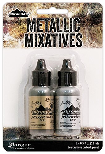 Ranger Adirondack Alcohol Ink Metallic Mixatives 1/2-Ounce 2/Pkg, Gold and Silver (Ranger Adirondack Alcohol Ink compare prices)