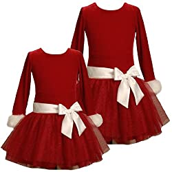 Dress on Bonnie Jean Girls 2t 6x Red White Velvet Tiered Glitter Mesh Special