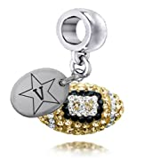 Vanderbilt Commodores Enameled Football Drop Charm. Solid Sterling Silver with Enamel