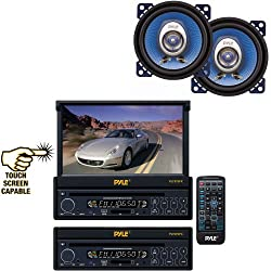 See Pyle Vehicle Audio System for Car, Van, Truck, Mobile etc. - PLTS73FX 7' Single DIN In-Dash Motorized Touch Screen TFT/LCD Monitor w/ DVD/CD/MP3/MP4/USB/SD/AM-FM Player - PL42BL 4' 180 Watt Two-Way Speakers (Pair) Details