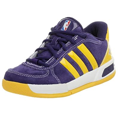 adidas Little Kid/Big Kid BTB LT NBA Lakers Basketball Shoe,Purple/Sun