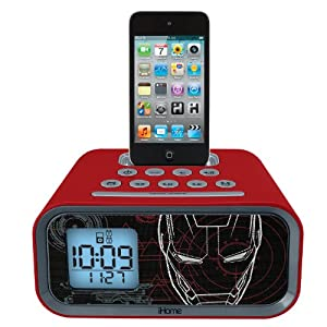 eKids Iron Man   Dual Alarm Clock and 30 pin iPod Speaker Dock, by iHome - MR-H22