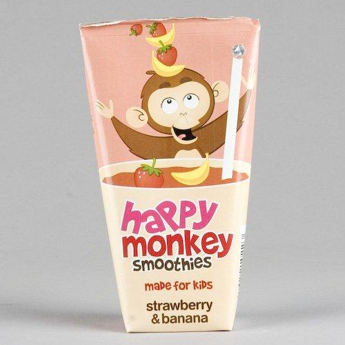 Happy Monkey H/Monkey Strawb'Y Ban Smoothie (4 X 180Ml) Gluten Free Vegan