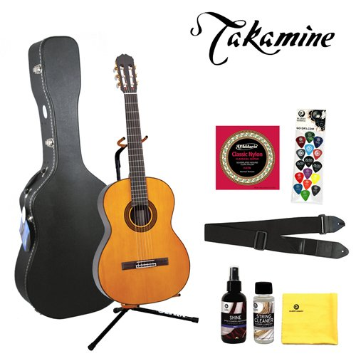 Takamine G128S Classical Guitar with DPS/Planet Waves 16 Pick Sampler DAddario EJ27 strings Ultra Stand MBTCGCW1 Hardshell Case Planet Waves Cleaning Care Kit