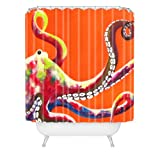 DENY Designs Clara Nilles Jeweled Octopus on Tangerine Shower Curtain, 69 by 72-Inch