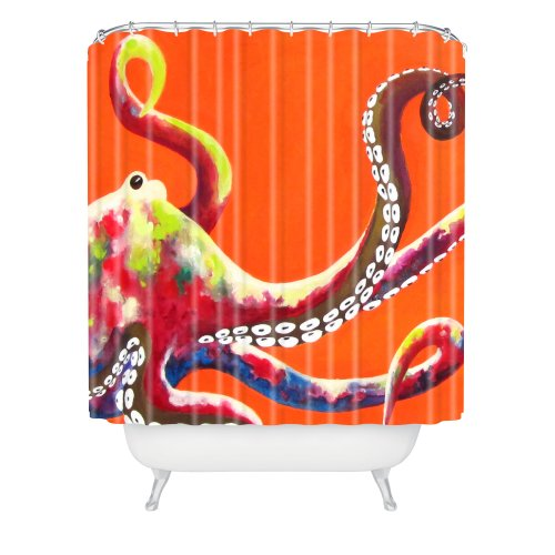 Jeweled Octopus on Tangerine Shower Curtain