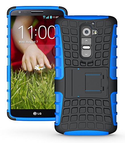 Jkase Diablo Series Tough Rugged Dual Layer Protection Case Cover With Build In Stand For Lg G2 (At&T / Sprint / T-Mobile Only. Not For Verizon Version) (Blue)