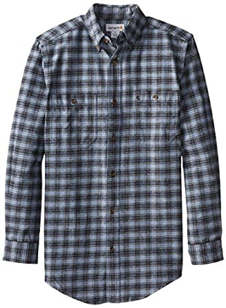 Carhartt Men's Big & Tall Trumbull Plaid Shirt Midweight Flannel Relaxed Fit,Infantry Blue (Closeout),Small