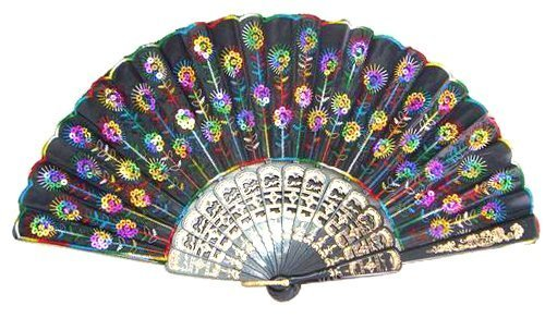 Liroyal Peacock Pattern Sequin Fabric Hand Fan Decorative Fashionable (Colorful)