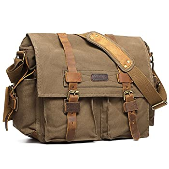 Kattee Men's Canvas Leather DSLR SLR Vintage Camera Messenger Bag