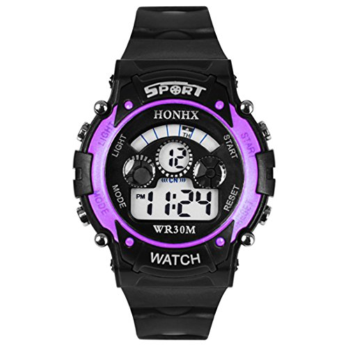 Changeshopping New Multi Function Men Aviation Sports Watch Led Analog-Digital Waterproof Watch (Purple)