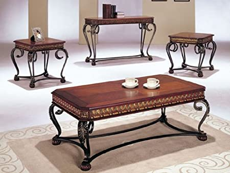 Carmel Design Coffee Table Set in Cherry Finish Acs70743 70744