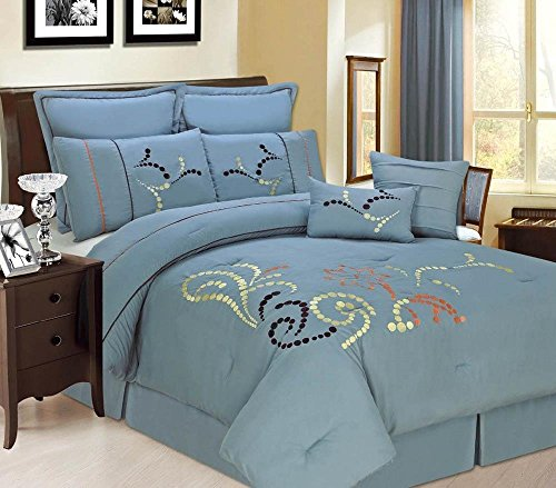 12Pc Luxury Bed In A Bag- Copper Ridge Blue-Queen-Blue front-928393
