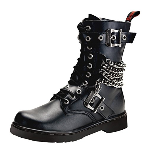 Mens Black Combat Boots Vegan Leather Lace Up Shoes Chains Buckles 1 Inch Heel