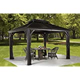 MESSINA 10'x12' - Charcoal (#77) Hard Top Sun Shelter, Aluminum Structure, Galvanized Steel Roof, 2 Tracks, Mosquito Netting Included