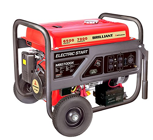 Mitsubishi Brilliant Powered By Mitsubishi MGB7000X Gasoline Generator with Electric Start, 7000-watt