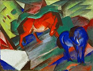 """Fine Arts Reproduction: Franz Marc """"Red and Blue Horses"""" 82 x 63"""