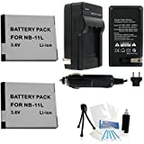 2-Pack NB-11L / NB-11LH High-Capacity Replacement Batteries with Rapid Travel Charger for Select Canon PowerShotCameras. UltraPro Bundle Includes: Camera Cleaning Kit, Screen Protector, Mini Travel Tripod