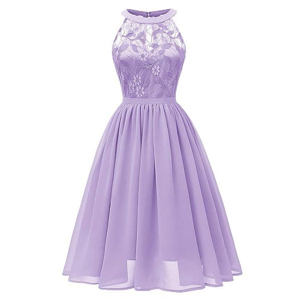 fc23c1f64ca DEATU Princess Lace Dress Women Vintage Floral Cute Lace Cocktail Neckline  Ladies Party Aline Swing Sleeveless ...