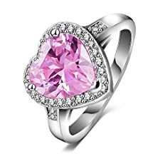 buy Platinum-Plated Copper Aaa Pink Cubic Zirconia Wedding Engagement Ring