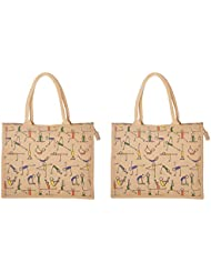 National Jute 10 Liters Brown Shopping Bags (Pack Of 2)