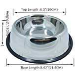 TopCute No-Tip No-Slip Stainless Steel Bowl For Samll/Medium/Large Pets (set of 2)