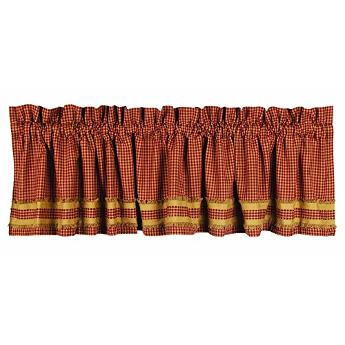 Home Collection by Raghu Newbury Gingham Red with Oat Trim Barn Red and Oat Valance, 72 by 15.5""