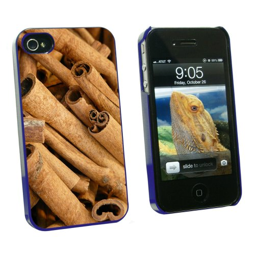 Cinnamon Sticks - Dried Brown Spice - Snap On Hard Protective Case for Apple iPhone 4 4S - Blue