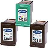 2x HP 338 Black & 1x 343 Tri-Colour Remanufactured Printer Ink Cartridges For use with HP Photosmart 2570 2575 2610 2710 7850 8150 8450 8450gp 8750 8750gp C3170 C3175 C3180 C3190 Pro B8350 Printers by Ink Trader
