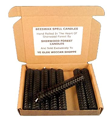 Sherwood Forest Candles - Set Of 8 Witch's Beeswax Spell Candles - Black - 10cm from Sherwood Forest Candles
