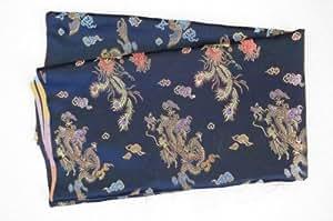 Black Dragon & Phoenix Chinese Silk Brocade Tapestry Fabric 1 Yard