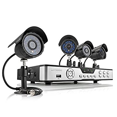 ZMODO 4 Ch Security DVR Surveillance System With 4 Outdoor Weatherproof IR Night Vision Video 480TVL Digital Camera 500GB HD