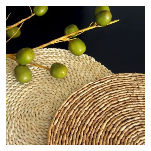 rush natural round woven placemats (set of 4)