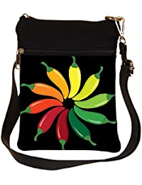 Snoogg Chilli Pepper Wheel In Vector Format Cross Body Tote Bag / Shoulder Sling Carry Bag