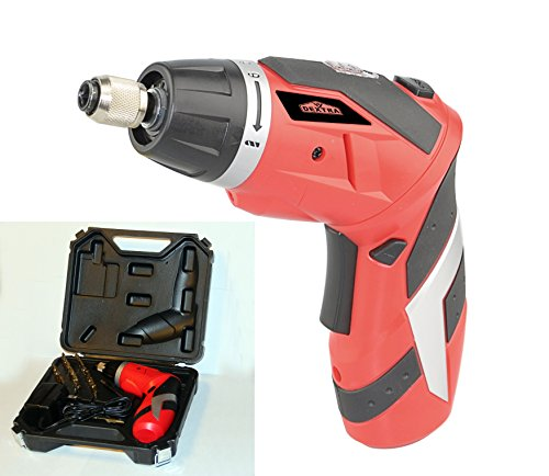 Dextra 15009 4-Volt Dual Angle Lithium-Ion Cordless Screwdriver Kit With Magnetic Screw Holder, 26 Screwdriving Bits, 1 Built-In Battery, 1 Charger, And 1 Storage Case front-1001929