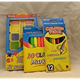 Bazic Watercolors, Markers, Colored Pencils Back To School Art Set
