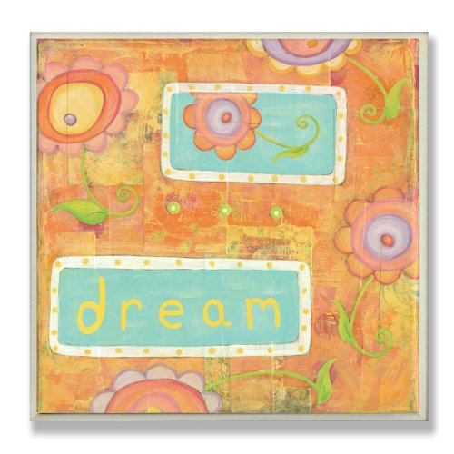 The Kids Room by Stupell Orange Dream Flowers Square Wall Plaque