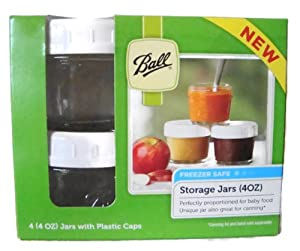 Ball Brand Glass Storage Jars with Plastic Caps - 4 (4oz) Jars and Caps by Ball