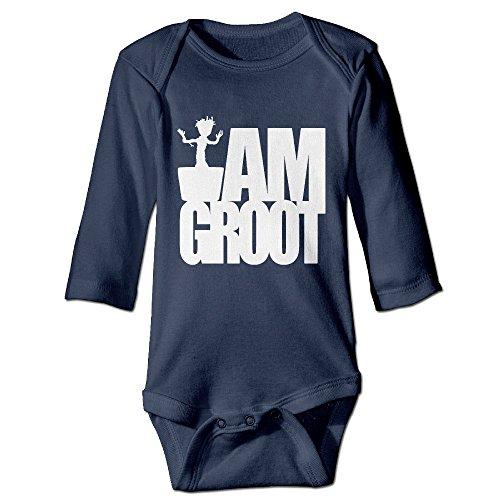 U9 6-24 Months Newborn Babys Boy's & Girl's Groot-I AM Groot Long Sleeve Bodysuit Outfits Navy Size 6