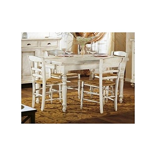 Wooden Rectangular Table, Extendible, White Painted Finish - White and Ivory as per Photo