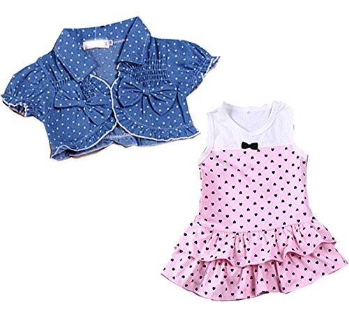 Kids Summer Baby Girls Dress + Tops Clothes 2Pcs Set Denim Waistcoat Outfits
