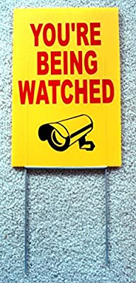 """1 Pc Stately Modern You're Being Watched Sign Anti-Robber Surveillance CCTV Decal Size 8"""" x 12"""" Yellow with Stake"""