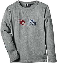 Rip Curl Logo T-Shirt manches longues Garçon Beton Marle FR : 12 ans (Taille Fabricant : 12)