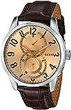 GUESS Men's U10646G1 Brown Retro Crocodile-Grained Leather Strap Watch
